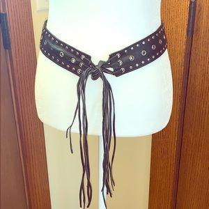 Genuine leather biker belt